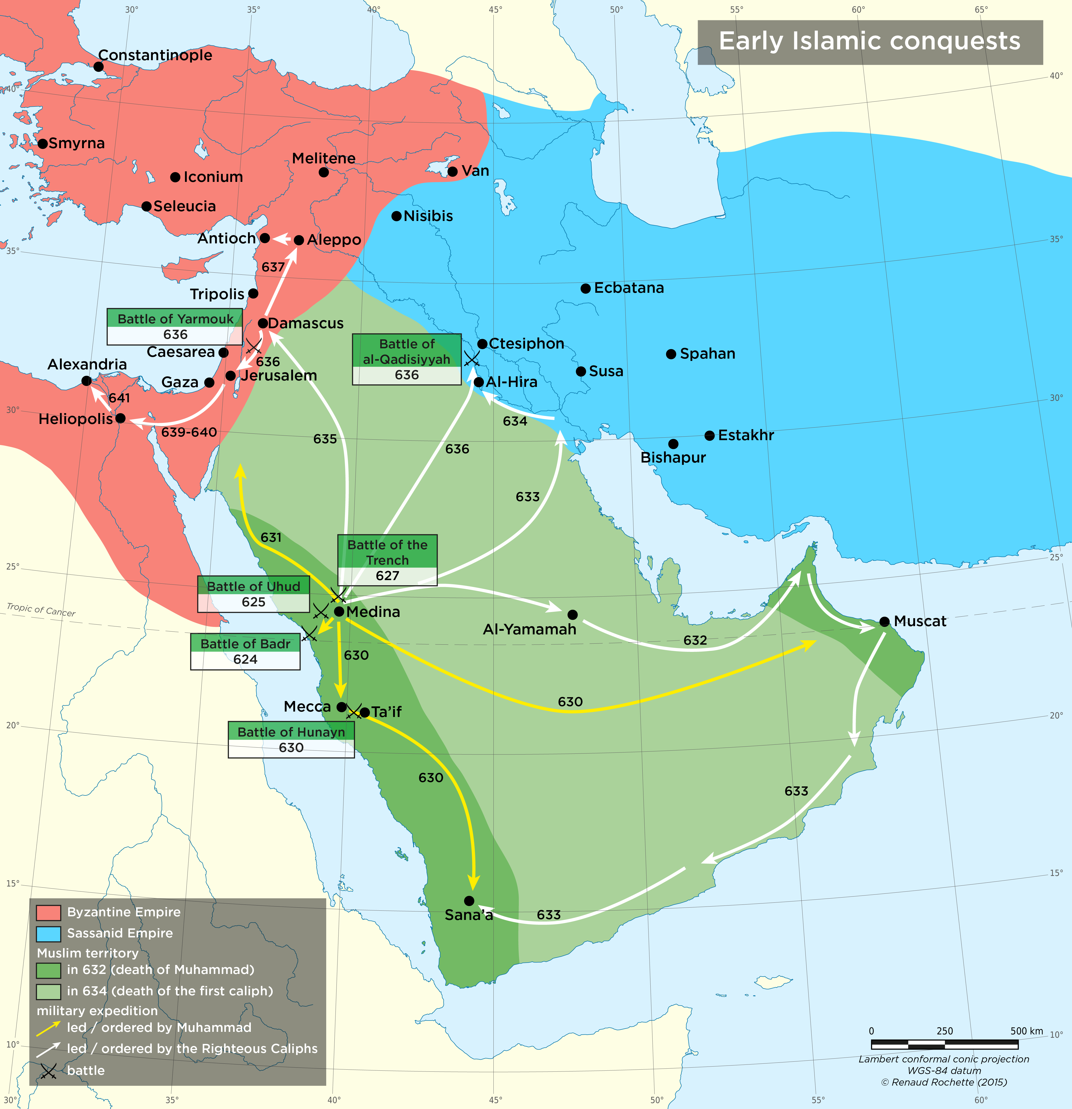 "spread of islam between 632 750 632–650 this is the period of the ""rightly guided caliphs"" or successors to muhammad as rulers of the arab empire, centred in mecca and medina during this time the official text of the koran is established in arabic."